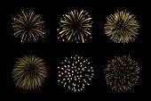Beautiful Bright Fireworks Set Isolated On Black Background poster