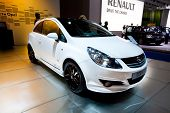 Moscow, Russia - August 25:  White Car Opel Corsa At Moscow International Exhibition Interauto On Au