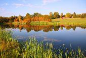 Autumn Farm Pond With Barn