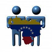 abstract people holding Venezuelan map flag illustration