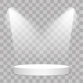 Round Stage Podium Illuminated With Light On Transparent Background. Stage Vector Backdrop. Festive poster