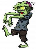 Cartoon Stalking Zombie With Brain Exposed