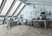 Three dimensional rendering of modern style room with herringbone type flooring and dirty wall behin poster