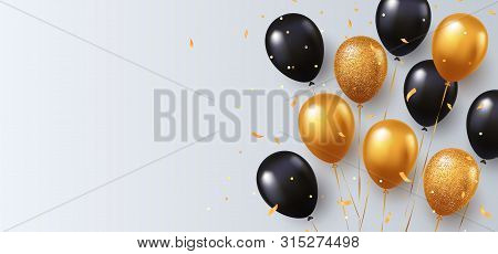 poster of Celebration, Festival White Background With Helium Balloons. Greeting Banner Or Poster With Gold And