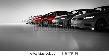 poster of Compact cars fleet in the studio garage. A red one standing out. Choosing new car concept. Generic a