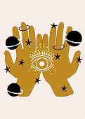 Hand,eyes, Planets And Celestial Elements. Vector Elements poster