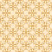 Hand Drawn Abstract Winter Snowflakes Pattern. Stylish Crystal Stars On Gold Background. Elegant Sim poster