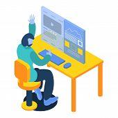 Man Working On Desktop Computer Icon. Isometric Of Man Working On Desktop Computer Icon For Web Desi poster