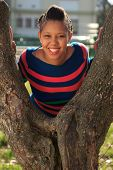 Beautiful Woman Afro American Black Tree In Park