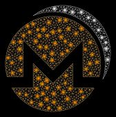 Glossy Mesh Monero Coins With Glare Effect. Abstract Illuminated Model Of Monero Coins Icon. Shiny W poster