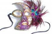 stock photo of female peacock  - Mardi Gras mask from New Orleans with black ribbon straps and open eye - JPG
