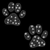 Glowing Mesh Paw Footprints With Glow Effect. Abstract Illuminated Model Of Paw Footprints Icon. Shi poster