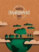 World Environment Day Illustration Of Papercut Earth Map With Eco City And People. Recycled Paper Cu poster