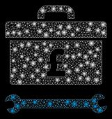 Glowing Mesh Pound Toolbox With Glitter Effect. Abstract Illuminated Model Of Pound Toolbox Icon. Sh poster