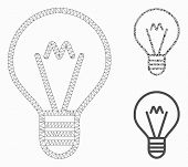 Mesh Hint Lamp Model With Triangle Mosaic Icon. Wire Frame Polygonal Mesh Of Hint Lamp. Vector Colla poster