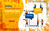 Online Chat Apps. Social Network To Send Messages. Mobile Apps For Chat, Concept Vector Ilustration. poster