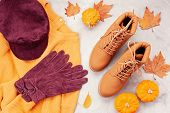 Flat Lay With Comfort Warm Outfit For Cold Weather. Comfortable Autumn, Winter Clothes Shopping, Sal poster