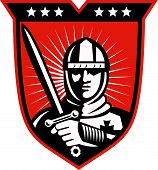 image of sword  - Illustration of a knight warrior crusader with long sword set inside shield done in retro style - JPG