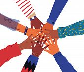 Friends High Five Concept. Illustration Of People Hands Together For Unity Or Diversity Teamwork. Is poster