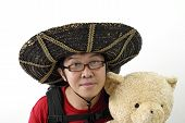 Asian Tourist With Mexican Hat poster