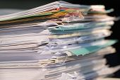 Piled Heap High Documents Folders, Stack Business Paper On Desk Messy Or Paperwork In Office. Old Do poster