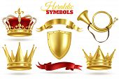 Realistic Heraldic Symbols. Golden Crowns, King And Queen Gold Diadem. Trumpet, Shield And Ribbons R poster