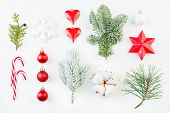 Colorful Christmas Decor. Xmas Decor On White Background poster