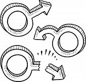 picture of erectile dysfunction  - Doodle style male gender symbols in various states including virile - JPG