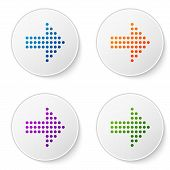 Color Dots Arrow Icon Isolated On White Background. Halftone Arrow. Dotted Arrow Sign. Set Icons In  poster