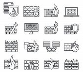 Firewall Server Icons Set. Outline Set Of Firewall Server Vector Icons For Web Design Isolated On Wh poster