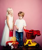 Couple Kids Hold Plastic Shopping Basket Toy. Kids Store. Mall Shopping. Buy Products. Play Shop Gam poster