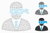 Mesh Masked Thief Model With Triangle Mosaic Icon. Wire Frame Polygonal Network Of Masked Thief. Vec poster