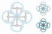 Mesh Quad Copter Model With Triangle Mosaic Icon. Wire Carcass Polygonal Mesh Of Quad Copter. Vector poster