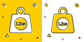 Black Weight Pounds Icon Isolated On Yellow And White Background. Pounds Weight Block For Weight Lif poster