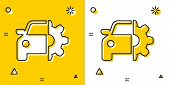Black Car Service Icon Isolated On Yellow And White Background. Auto Mechanic Service. Mechanic Serv poster