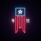 Patriot Day 9-11 Neon Sign. Twin Towers On American Flag. Bright Signboard September 11, 2001. Vecto poster