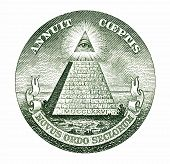 picture of freemason  - Dollar pyramid on white background macro - JPG