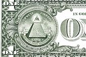 stock photo of freemason  - bill Dollar pyramid on white background - JPG