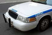 foto of nypd  - Front and side view of a white police car with blue letters saying  - JPG