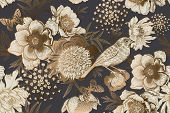 Seamless Background With Garden Flowers Peonies, Bird And Butterflies. Luxury Pattern For Creating T poster