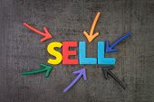 Buy And Sell For Consumerism, Create New Product And Service To Get Money Concept, Multi Color Arrow poster
