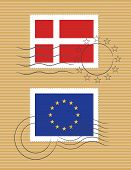 Denmark And European Union - Stamps With Flag