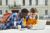 Waist Up Portrait Of Two International Students Doing Homework Together Standing Outdoors In Campus, poster