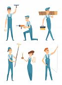 Worker Characters. Professional People Builders Constructors Factory Workers Home Repair Mascot Vect poster
