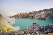 The Ijen Volcano Or Kawah Ijen On The Indonesian Language. Famous Volcano Containing The Biggest In  poster