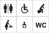 Set Of Wc Icons Gender Male Female Baby Change Handicapped Toilet Isolated On A White Background Pic poster