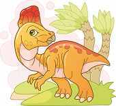 Cartoon Cute Prehistoric Dinosaur Corythosaurus, Funny Illustration poster