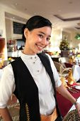 Beautiful Restaurant Staff Pose At Work