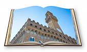3D Render Of An Opened Photo Album With The Famous Palace Called palace Of The Lordship Or old Pa poster