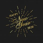 Happy New Year 2020 Design. Gold Card On Golden Background. Happy New Year Card Design. Typography D poster
